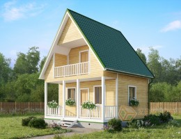 Каркасный дом 6х6 с балконом